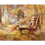 JUNSZYH Digitale Malerei,Gartenbank Schöne Landschaft,Ölfarbe Malen Nach Zahlen DIY Bild Zeichnung Färbung Auf Leinwand Malen Von Hand Wand Malen Nach Zahlen,16X20 Zoll DIY Rahmen