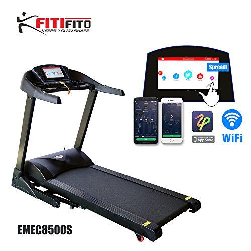 Frühlingsangebot nur bis 02.05.2017 Fitifito 8500S Profi Laufband 7,5PS 22km/h mit 10,1 Zoll Touchscreen Android Wifi App 22 Trainingsmodulen inkl. HRC