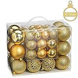 WOMA Christbaumkugeln Set in 10 weihnachtlichen Farben - 50 & 100 Weihnachtskugeln Gold aus Kunststoff - Gold, Silber, Rot & Bronze/Kupfer - Weihnachtsbaum Deko & Christbaumschmuck