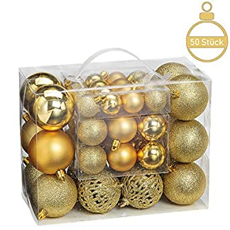 WOMA-Christbaumkugeln-Set-in-10-weihnachtlichen-Farben-50-100-Weihnachtskugeln-aus-Kunststoff-Gold-Silber-Rot-BronzeKupfer-6-Weihnachtsbaum-Deko-Christbaumschmuck