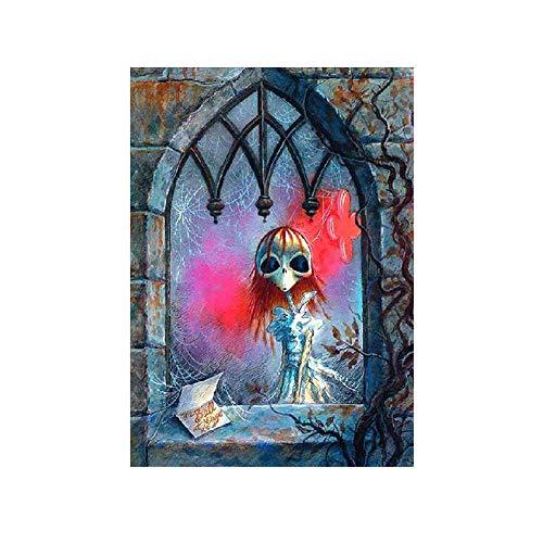 Haus Halloween Kürbis Diamant Malerei, Halloween Kürbis Skelett DIY Teil Diamant Malerei Kreuzstich-Wand-Dekor z004 ()