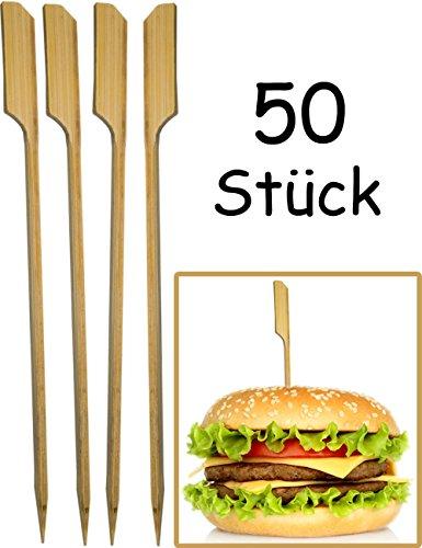 HOMETOOLS.EU® - 50x Hamburger Spieße, Sticks | BBQ Grill Cheese Burger | Bambus Fahne, Fixieren und halten den Burger zusammen! | Holz, 15cm, 50 Stück (Grill Fahne)