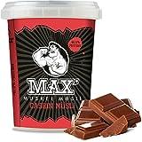 MAX MUSKEL MÜSLI Casein Low Carb Protein-Müsli ohne Zucker-Zusatz & Nüsse - wenig Kohlenhydrate viel Eiweiss Sportlernahrung für Muskelaufbau & Abnehmen, speziell für abends 100g ToGo Becher (Schoko)