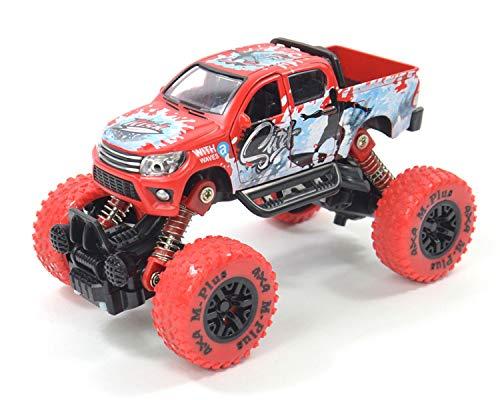 Kögler 54552 - Monstertruck mit Rückzugsmotor und Allradantrieb, ca. 9,6 x 14,5 cm groß, sortiert in 2 Farben, große Räder und Federung, auch für unebenes Gelände, als Geschenk für Jungen ab 3 Jahre