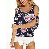 T-shirt Femmes, Hauts décontractés Fleurs Chemisier Des pansements Fleur imprimée Mode Toamen (S, Marine)