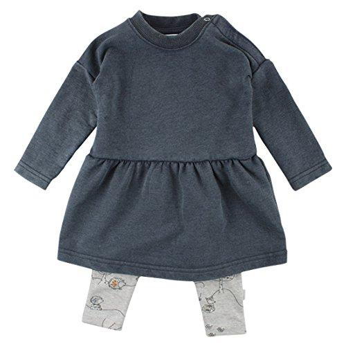 Fixoni Mädchen Baby Kleid und Leggings im Set, 2-teilig, 80% Baumwolle, Denimblau-Grau, Gr. 62, Dear 2Pcs Set Denim 32824 10-01 (Denim-kleid 2-teiliges)