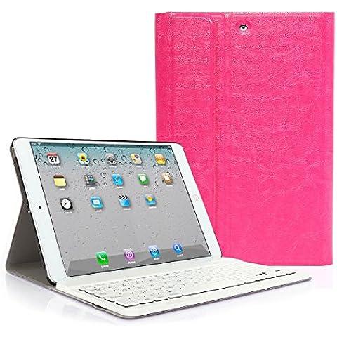 CoastCloud color rosado funda Cubierta protectora cuero PU con Teclado Inalambrico QWERTY espanol para iPad air(ipad 5) con