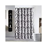 Bishilin Badewannen Duschvorhang 200x200 Schwarz Weiß Gitter 3D Lustiger Duschvorhang aus Polyester-Stoff