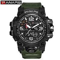 LpfbGezfnwb Sport Digital Watch Men Militray Big Dial Watches Mens Waterproof Clock (Green)