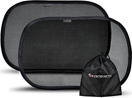 Systemoto Sonnenschutz Auto für Baby mit Zertifiziertem UV Schutz (2er Set), Schwarz