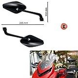 Paar Spiegel Rückspiegel für Motorrad Far New Line zugelassen schwarz für Moto Guzzi California 1400Custom 2012–2017