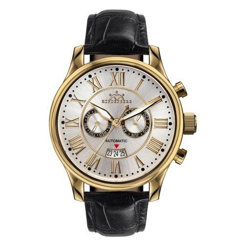 Hindenberg Armbanduhr Open Date Leder/gold/silber