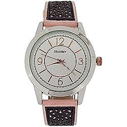HENLEY Damenarmbanduhr zweifarbig, silberfarbenes Ziffernblatt, pink & graues Wildlederimitat Armband H06064.5