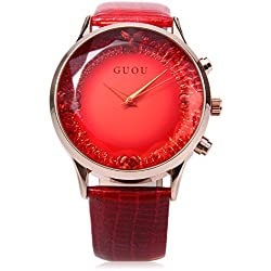 Leopard Shop GUOU 8107 Female Quartz Watch Sparkling Surface Square Cut Mirror Genuine Leather Strap Red