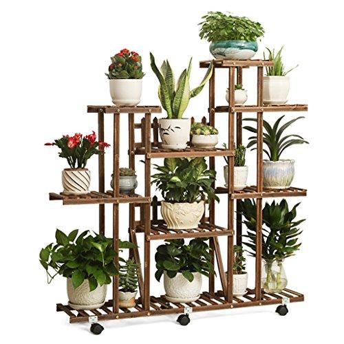 Wydm fioriera in legno massello verticale fiore stand pianta espositore cremagliera balcone cornice decorativa con ruote 112x25x110cm