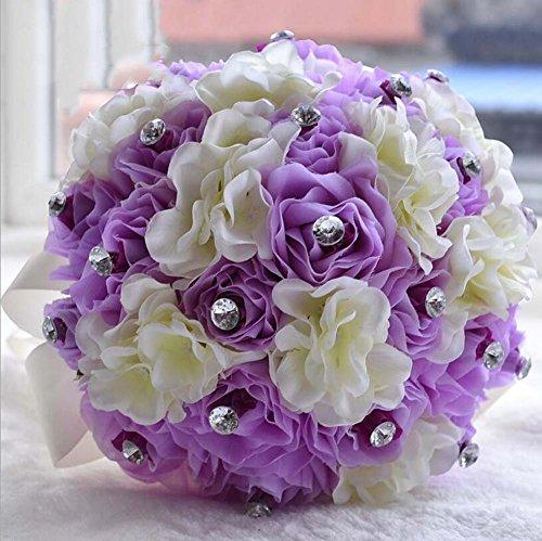 Style européen tissu tenant des fleurs de mariage cadeau fait à la main chaque de satin rose et bouquet pour le mariage grand (Color : Purple rose milk white hydrangea)