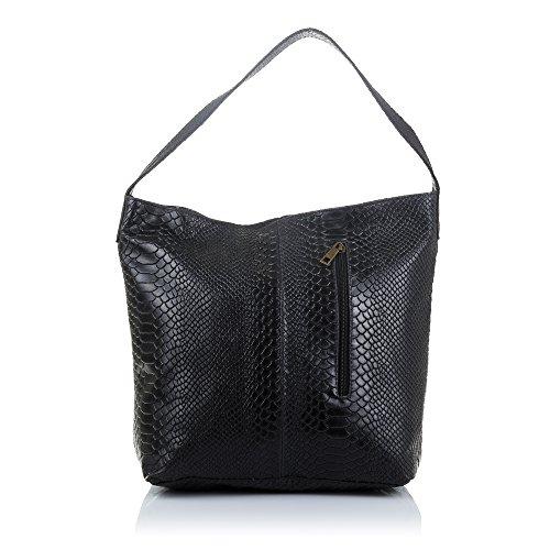 Firenze ARTEGIANI.Bolso Shopping Bag de Mujer Piel auténtica.Bolso Hombro Cuero Genuino Grabado...
