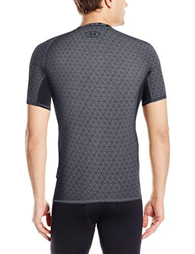 Under Armour UA HeatGear Printed, Maglietta a Compressione da Uomo Black/Graphite