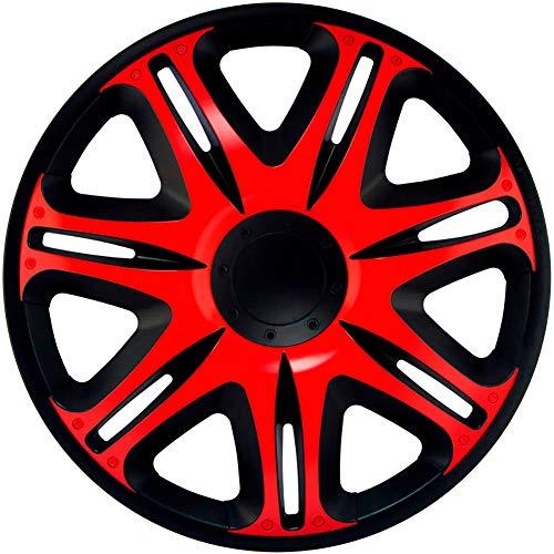 J-Tec J16512 Nascar - Tapacubos (40,6 cm), Color Negro y Rojo