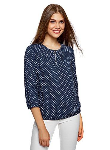 oodji Ultra Damen Bluse mit Tropfen-Ausschnitt und 3/4-Arm, Blau, DE 38/EU 40/M