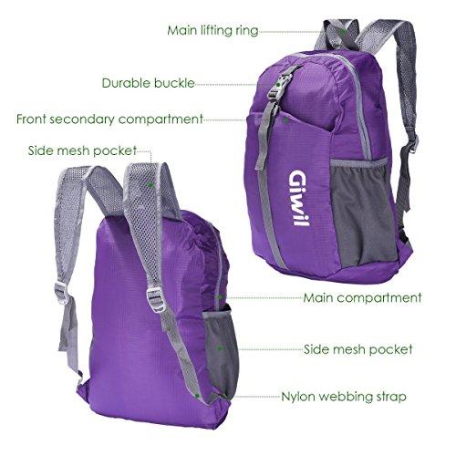 Giwil Multifunzione 20L Zaino Trekking Ultra Leggero Pieghevole Peso Leggero Daypack Per Sportivo Outdoor Campeggio Alpinismo Arrampicata Viaggi (nero) porpora-20L