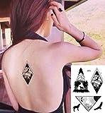 Linien Tattoos Grafische Tattoos Wolf Adler Berg Wald schwarz Fake Tattoos J516