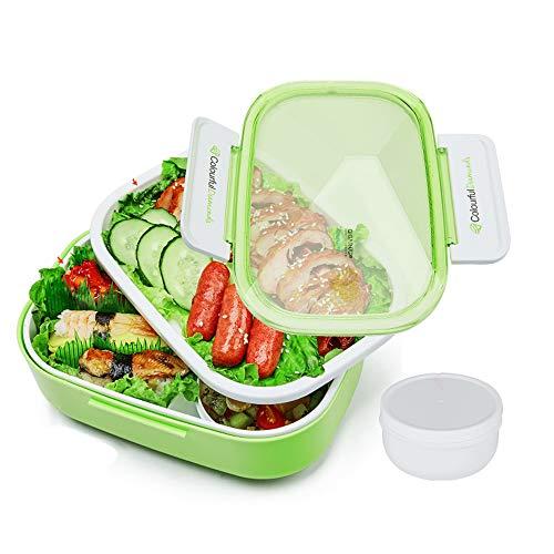 Riutilizzabile lunch box, scatole riutilizzabili bento con 3 scomparti a tenuta stagna contenitori di cibo con stoviglie bpa gratis per la scuola, ufficio,green