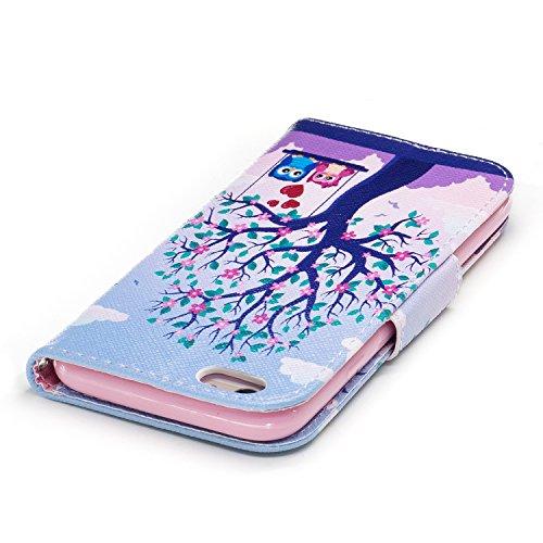 iPhone 6 / 6S (4.7 pouce) Coque , PU Cuir Étui Protection Wallet Housse la Haute Qualité Pochette Anti-rayures Couverture Bumper Magnétique Antichoc Case Anfire Cover pour iPhone 6 - Panda arbre et balançoire