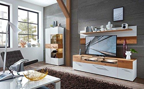 Wohnzimmerschrank, Wohnwand, Schrankwand, Anbauwand, Fernsehwand, Wohnzimmerschrankwand, Wohnschrank, weiß, Wildeiche, Beleuchtung, Soft-Close