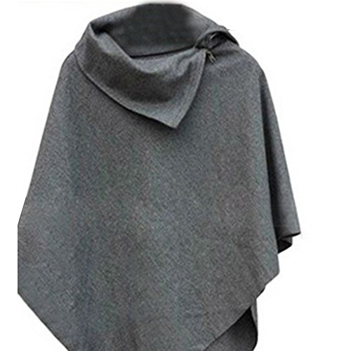 Wool Blend Trench (Cape Women Girls Wool Blend Cloak Jacke Coat Mäntel Kapuzenpullover Trench Coat Outwear Shawl Grau)