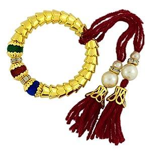 Die Jewelbox handgefertigt Maroon CZ Gewinde Gold vergoldet Perlen dehnbar Armband für Kinder Mädchen Frauen