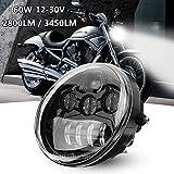 Suparee LED Frontleuchte LED Scheinwerfer 17CM 60W 12V für Harley Davidson VRSCA V-Rod VRod 02-16 (schwarz)