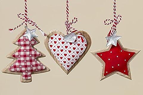 3 Stk Hänger LINO Stoff/Holz rot weiss Stern Baum Herz Punkte Karo Nostalgie Landhaus Christbaumschmuck 14cm groß Hänger Weihnachtsdeko Anhänger Holzscheiben Weihnachtsbaumschmuck Dekohänger