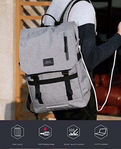 Donne di grande capacità 15,6 pollici Laptop Bag uomo USB Design zaino borsa nero zaino impermeabile borse scuola Mochila Masculina gray