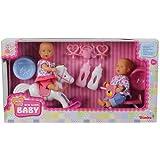 SIMBA Mini New Born 2 Puppen mit Schaukelpferd Dreirad und Zubehör NEU