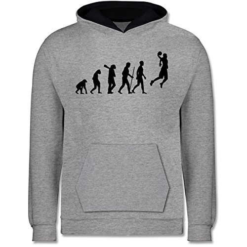 Evolution Kind - Basketball Evolution - 9-11 Jahre (140) - Grau meliert/Dunkelblau - JH003K - Kinder Kontrast Hoodie