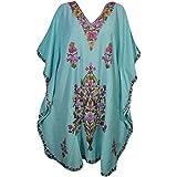 Mogul Interior Womens Kaftan Sky Blue Embroidered Caftan Dress XXXL