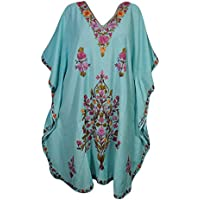Mogul Interior Women Kaftan Dress Blue Embroidered Resort Wear Caftan One Size
