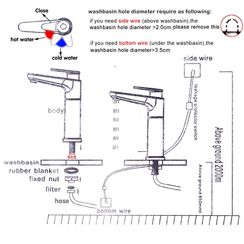 Sofort elektrisch Hot Wasserhahn 2,5kW Wasser Heizung Küchenarmatur Einhebelmischer chrom weiß, 90Grad-Kalt- und Warmwasser Wasserhahn - 6
