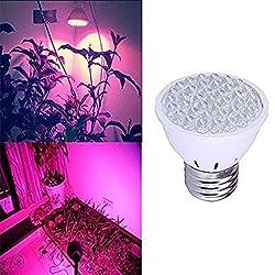 BLOOMWIN E27 Pflanzenlampe 220V 2.2W, Pflanzenbeleuchtung Wachstumslampe LED Wachsen Licht Birne Pflanzenleuchte für Zimmerpflanzen AC100-245V 28 Rot und 10 Blau Licht