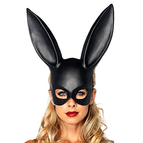 nmaske Halloween Kaninchen Maske Schwarz Bunny Masquerade Zubehör Prop für Halloween Party Karneval Kostüm Cosplay Requisiten Fasching Verrücktes Kleid Ball (Billige Halloween-kostüme Für Frauen)