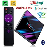 Xilibod H96 Max TV Box Android 9.0 4GB RAM/32GB, Penta-Core Mali-450 Up to 750Mhz+, RK3318 Quad-Core 64bit Cortex-A53, H.265 Decoding 2.4GHz/5GHz WiFi,Smart Android Box