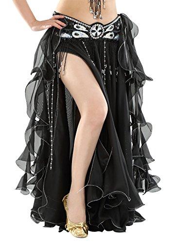 BellyQueen Damen Bauchtanz Kleider Orientalische Kostüme Performance Kleid Outfit Bauchtanzröcke Tanzrock-Schwarz (Bauchtanz Kostüm Schwarz)