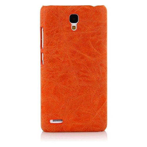WOW Imagine Premium Handmade Weathered Leather Texture Collection Back Case Cover for XIAOMI MI REDMI Note/Note 4G/Note Prime (Textured Orange)