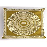 Ambesonne Greek Key Pillow Sham, Frieze with Vintage Ornament Meander Pattern from Greece Retro Twist Lines, Decorative Standard King Size Printed Pillowcase, 36 X 20 Inches, Goldenrod White