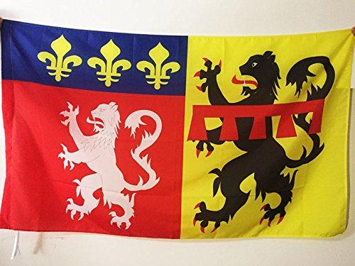 FLAGGE DÉPARTEMENT RHÔNE 90x60cm - RHÔNE FAHNE 60 x 90 cm scheide für Mast - flaggen AZ FLAG Top Qualität