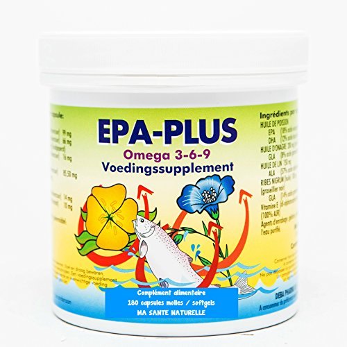 Fisch-Öl Plus Vitamin (Omega 3-6-9epa-plus-Öl Fisch-+ Nachtkerzenöl + Leinen + schwarze Johannisbeere (Öl) (Gooseberry schwarz) + Vitamin E (als D) 1000mg-180Kapseln MOLLES,/Softgels)