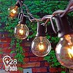 Catena luminosa Lampadine con 25 pezzi G40 Bulbi Bianco Caldo da 7W KINDAX Stringa Luci Impermeabile da 7,62 Metri, Luci Decorative da Interni e Esterni per Feste, Giardino, Natale, Matrimonio