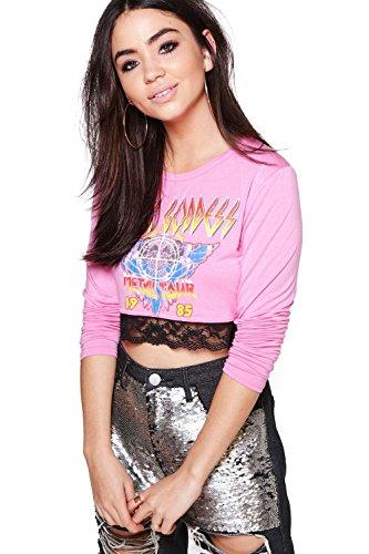 Rose Femmes Lizzie T-shirt De Groupe En Dentelle Imprimé À Manches Longues Rose