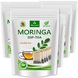 Té de Moringa 100% natural y vegano (opcionalmente Moringa-mezcla de hojas, manzana-canela, granada, jengibre, menta). 1A calidad (100 bolsitas de té Moringa-mezcla de hojas- 5x20 bolsas)